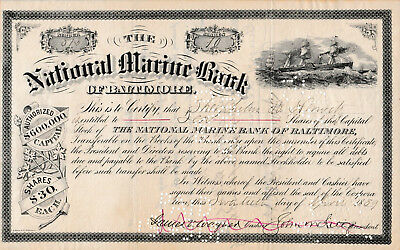1889 The National Marine Bank of Baltimore Aktie United States of America USA