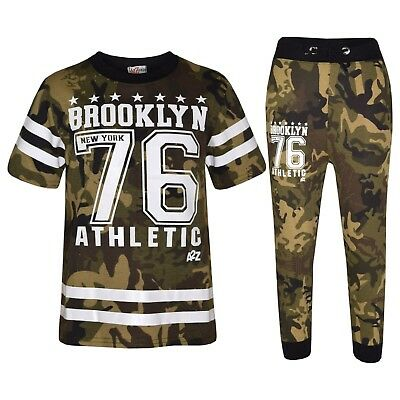 Kids Boys Designer Brooklyn 76 Camouflage Green T Shirt Tops Trouser Tracksuit