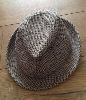 DUNN AND CO Trilby Hat Hand Woven Harris Tweed 100% Wool x-small 50 ... 3ca6a41bd360