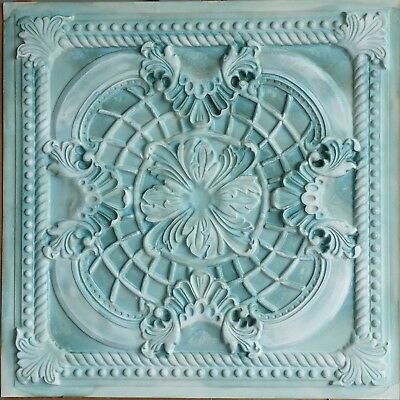 Ceiling tile 2x2 Faux tin painting greenish cafe bar wall panel 10tile/lot PL31