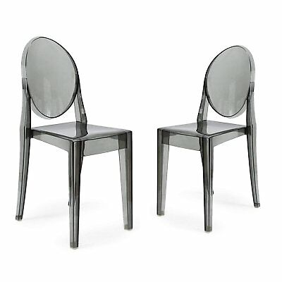 Set of 2 Victorian Modern Design Ghost Dining Side Chair in Smoke Finish