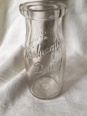 Vintage Half Pint Milk Bottle Washington Dairy Co. Peoria Illinois 1928