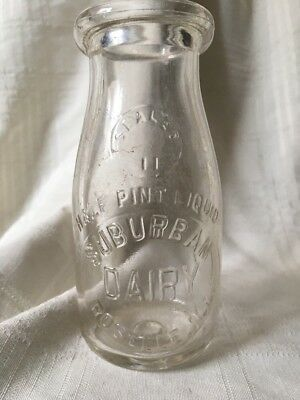 Vintage Half Pint Milk Bottle Suburban Dairy Roselle Illinois 1932