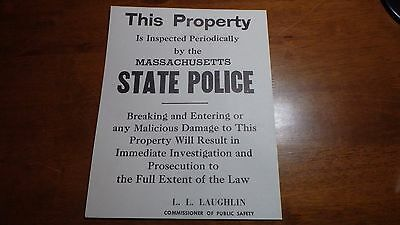 Vintage Massachusetts State Police Poster 1960's Commissioner L.l Laughlin