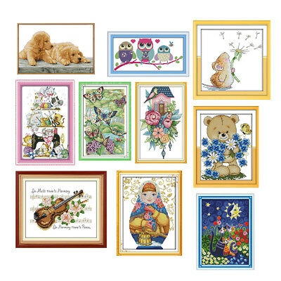 Dimensions Cross Stitch Kit Stamped Flower Cats 11 14 Counted for Children