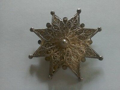 STERLING 925  SILVER FILIGREE star BROOCH vintage 🌟