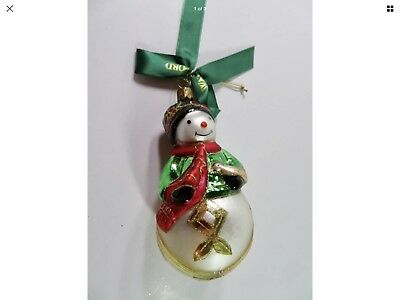 Waterford Holiday Heirlooms Happy Snowman Holding a Bird... Christmas Ornament.