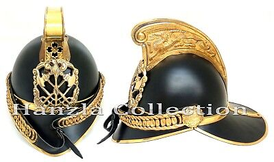 Brass British Brigade Fireman Helmet Vintage Style Wearable Leather Fire Fighter
