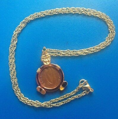 Ireland (Eire) 1P/Penny Leprechaun Harp/Bird Pendant 1996 Necklace Gold Tone 22""