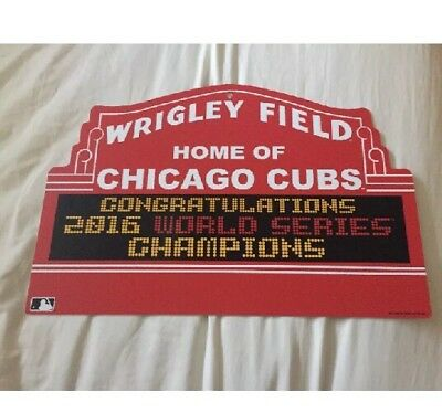 "2016 Chicago Cubs World Series Champions Marquee Wrigley Sign 18""x12"" New"