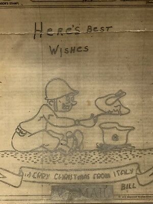 WWII V-Mail Christmas Christmas Card 1943 Soldier Cooking Using German Helmet