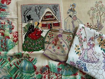 5 Vintage Hand Embroidered Crinoline Ladies  Picture Printed Tablecloth Hnky Bag