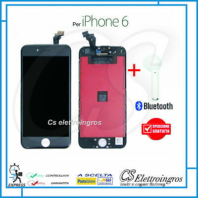 Touch Screen + Display + Frame IPHONE 6 6G NERO A1549 A1586 A1589 + Auricolare