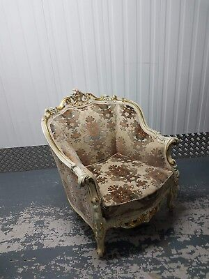 Ornate Vintage Shabby Chic French Louis XV Designer King Queen Throne Armchair