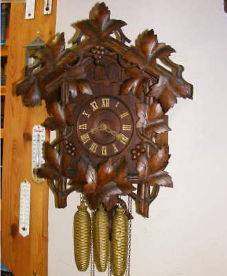 Antique Black Forest Gordian Hettich 3 weight Double Door Cuckoo & Quail Clock