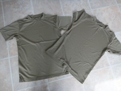 British Army Self wicking T shirt coolmax Walking Running Cadets Olive x 2