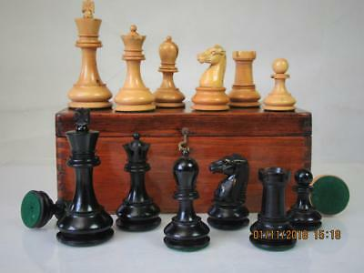 "Antique Fine Bcc Staunton Chess Set Lead Loaded   K 4"" And   Box - No Board"