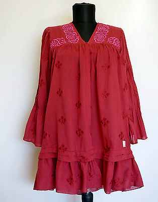 Odd Molly #856A Raspberry Tunic/Dress With Floral Embroidery, Size:1