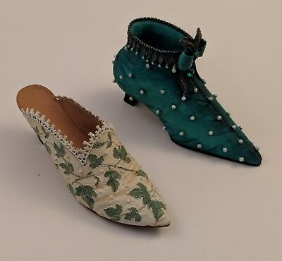 Lot of 2 Miniature Shoes - Just Right Shoe Touch of Lace + Pearled Velvet