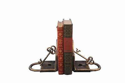 Rustic Deco Cast Iron Vintage Key and Lock Bookends - Pair
