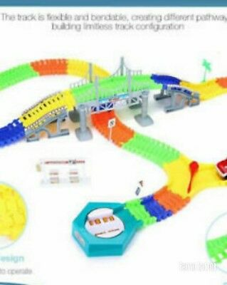 Magic Tracks 18 ft 360Pcs Mega Set With LED Race Cars Colorful Glow In The Dark