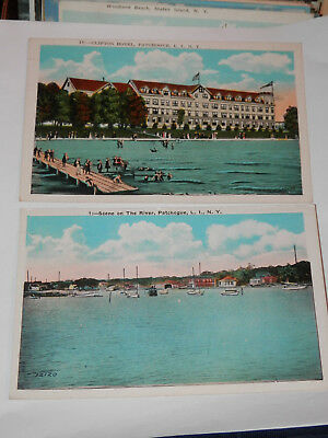 Patchogue Long Island Ny - 2 Old Postcards - Clifton Hotel - River Scene