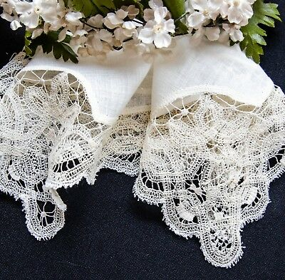 Beautiful Antique Edwardian Hanky Handmade Honiton Lace Bridal  Wedding Hanky
