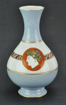 "Antique hand painted vase with Greek portraits.  8 ½"" tall, 5"" diam. (BI#MK/TMP)"