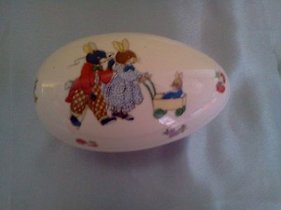 Lefton China Large Egg Shape Trinket Box hand painted, two rabbits pushing buggy
