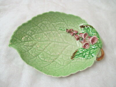 Vintage England Carlton Ware Leaf shaped Dish with pink Flowers #1875