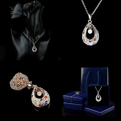 Rose Gold Plated Jewellery Necklace Crystal Drop Pendant Gift Set Bag Boxed
