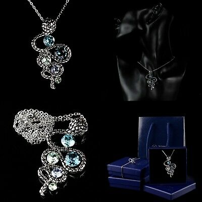 Ancient Silver Plated Jewellery Necklace Crystal Blue Snake Pendant Gift Boxed