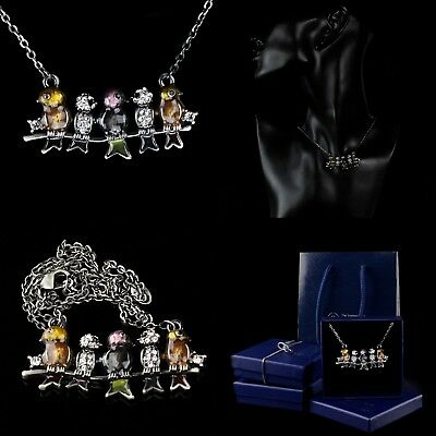 Ancient Silver Plated Jewellery Necklace Crystal Birds Pendant Gift Bag Set Box