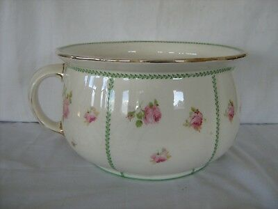 Vintage Large flower  and gilt decorated Chamber Pot D3223