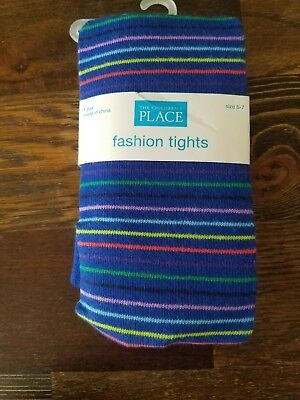 Nwt Childrens Place Fashion Tights Girl Size 6-7 Blue Stripes