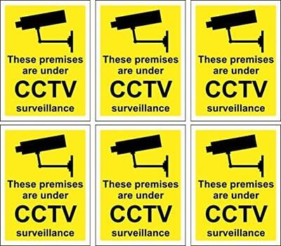 New 6 X CCTV Signs Self Adhesive 100Mm X 75Mm Suitable For Outdoor Use