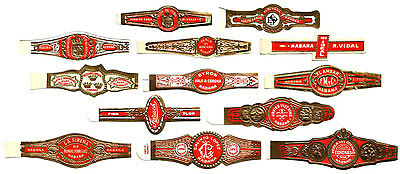 B019. Old Forgotten Cuban Brands. 25 Originals Cigar Rings. Unused.