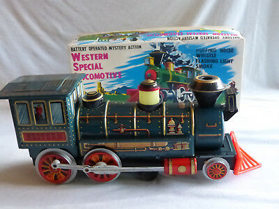 Masudaya Western Special Locomotive 3293 Blech Tin Toy 60er Jahre Japan in Box