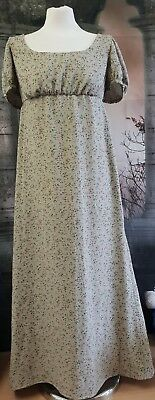 Regency Style Gown In Olive Green Sprig Cotton