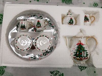 Christmas Mini Tea Set for 2 Christmas Tree Themed