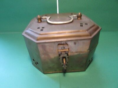 Vintage Brass Octagon Footed Cricket Trinket Box  Made in India Large Size
