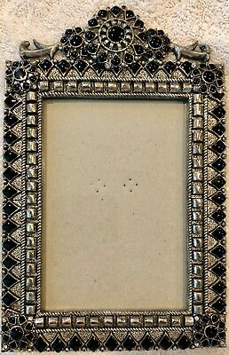"Beautiful Ornate Bejeweled Silver-Toned Metal 3.5"" x 5"" Picture Frame, Very Heav"