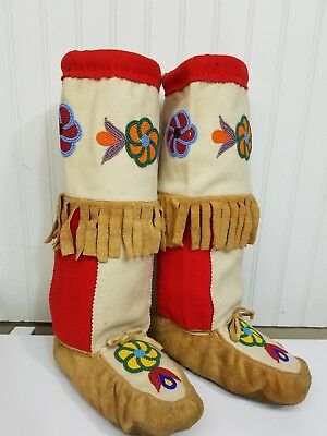Vintage High Top Beaded Moccasins Boots Native American Wool Suede