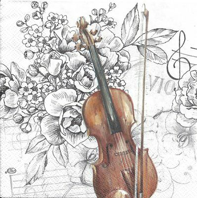 Lot de 4 Serviettes en papier Musique Violon Decoupage Collage Decoaptch