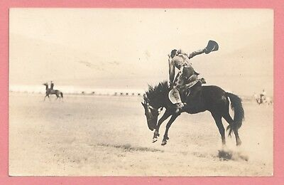 Dr Who Vintage Azo Rppc Bronc Rider Horse Real Photo Postcard 1 11294