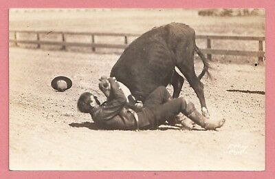 Dr Who Vintage Azo Rppc Steer Wrestler Real Photo Postcard 2 11291