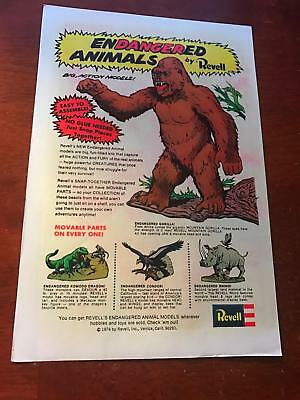 1974 Vintage 6X10 Comic Toy Print Ad Revell Endangered Animal Models Rhino As-Is