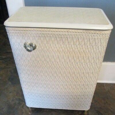 Vintage Wicker Laundry Clothes Hamper White