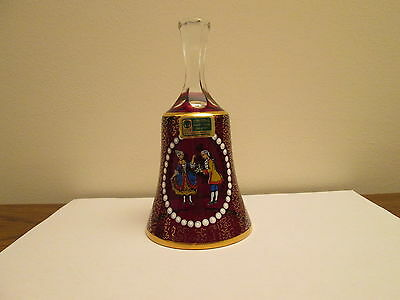 Lausitzer Glas vintage mouth-blown hand-cut ruby red enameled oval crystal bell