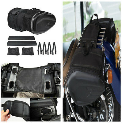 Durable Motorcycle Saddle Bag Luggage Helmet Tank Bags W/Cover Carbon Fiber Look